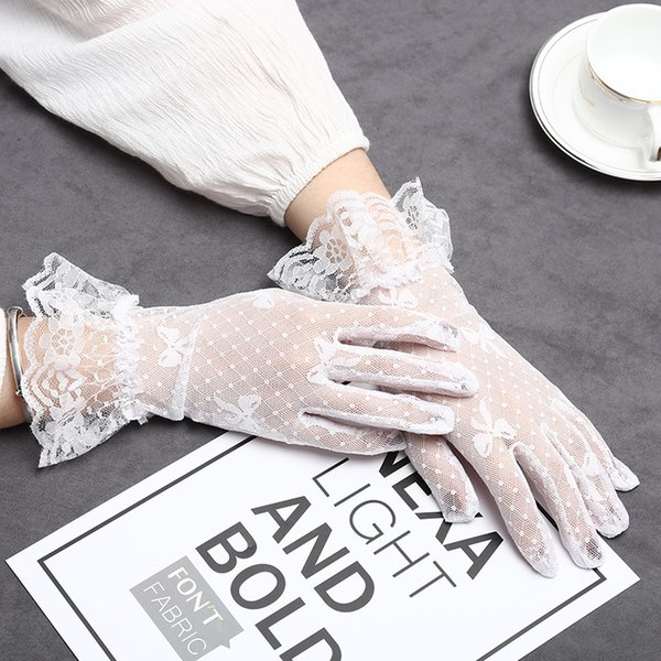 New Fashion Women Gloves Sunscreen Cycling Lace Short Summer Finger Thin Gloves Black White Free Size Decoration Wedding