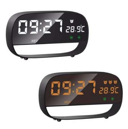 Digital Large LCD Display Multi Alarm Clock Desktop Digital Table Mirror Smart Touch Snooze Thermometer Function Nightlight