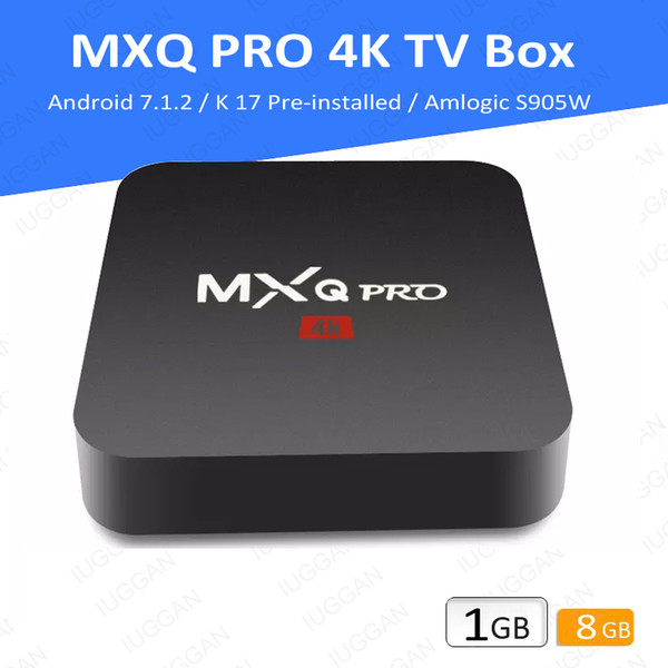 best selling MXQ Pro 4K Amlogic AML S905W Quad Core Newest CPU Android 7.1 PLAYER 17.6 1gb Ram 8gb eMMC Flash Memory TV Box