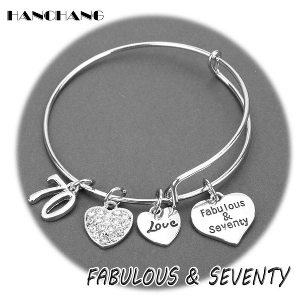 HANCHANG Fabulous&Seventy Charms Bangles Bracelets for Women Initial Present Jewelry Age Mom Mother's Gift