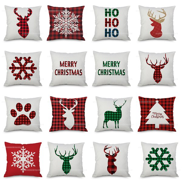 top popular 23 Styles Christmas plaid Pillow Case For Sofa Car Cushion Xmas lattice letter print Pillow Cover Pillowslip Bedding 45*45cm C5487 2021