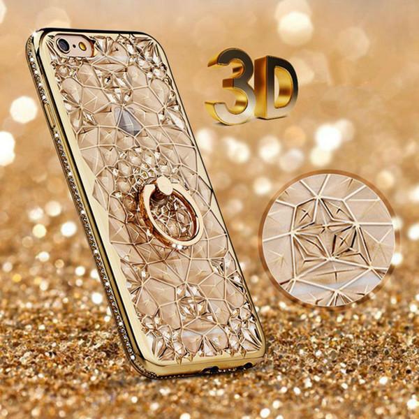 Leanonus Plating Soft Glitter Diamonds Case for iPhone X 8 7 plus Bling Slim TPU Finger Ring Back Cover for iPhone 7 6 6S Plus 5S SE Shell