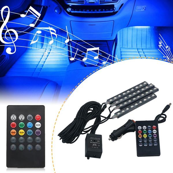 Edison2011 36 LEDs Música Voz Control remoto Coche RGB LED Luz interior de neón Coche RGB Tira de la lámpara Decorativo Atmósfera Luces Estilo del coche