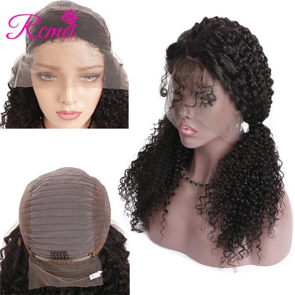 Rcmei Kinky Curly Lace Front Perruques 130% Densité Couleur Naturelle 10-24 Pouce 13 * 4 Dentelle Frontale Perruques 100% Brésilienne de Cheveux Humains