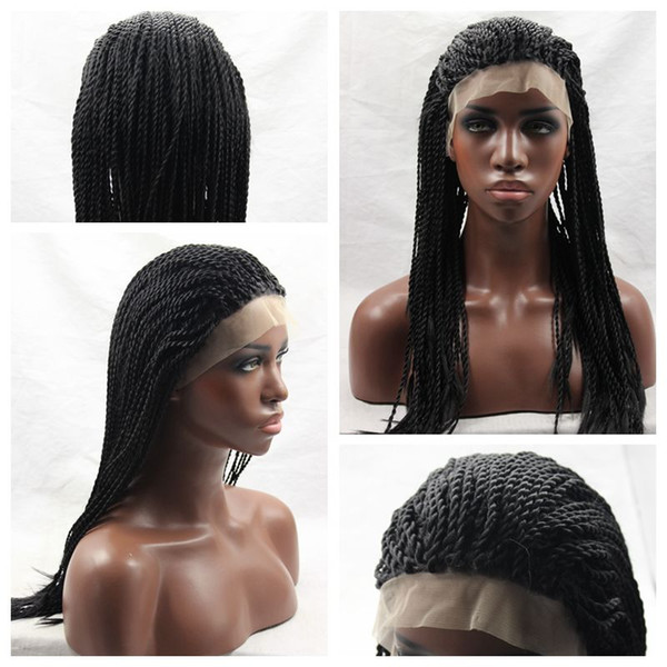Top Quality Synthetic Braided Lace Front Wigs Half Hand Micro Braiding Wigs Heat Resistant Twist Braid Wigs for african american Women