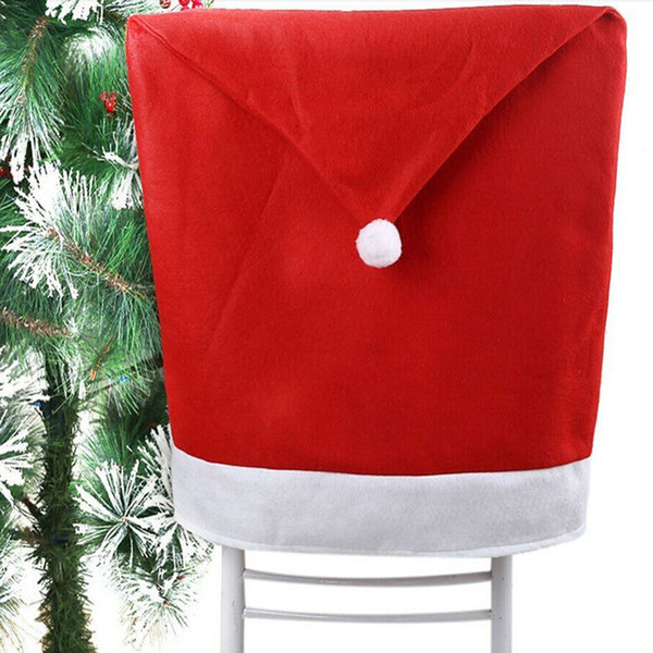 Hot Selling Christmas Chair Covers Santa Clause Red Hat for Dinner Decor Home Decorations Ornaments Supplies Dinner Table Party Decor