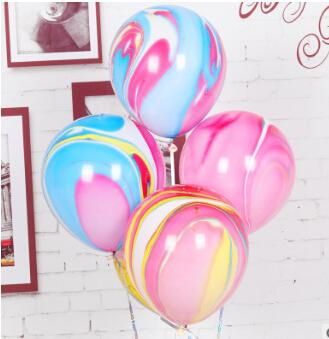Agate Marble Latex Balloon Colorful Cloud Inflatable Balloon Purple Red Blue Green Yellow Balloons For Wedding Decoration 10 Inch