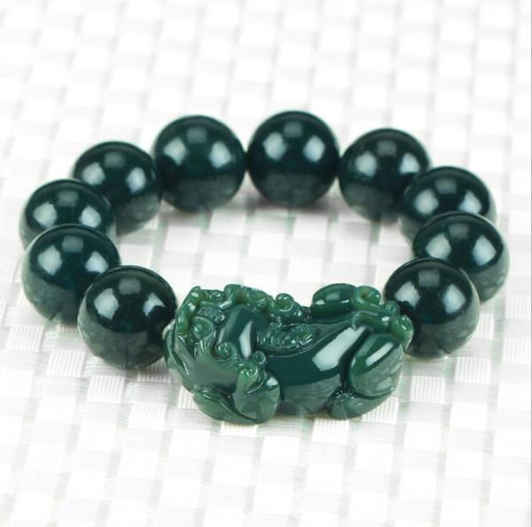 Natural hetian jade Qing Moyu PIXIU Pulseira corda mão Pedra Sorte Trecho Pulseira Elástica Moda Jóias