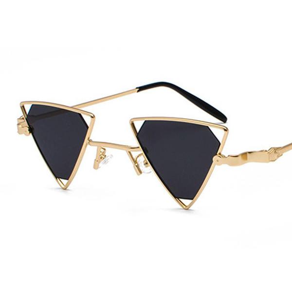 Venta al por mayor de alta calidad Vintage Punk triángulo gafas de sol mujer hombre marco de metal negro rojo amarillo rosa gafas de sol retro tonos regalos