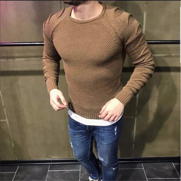 9c940fb6a791 Высокое качество теплые свитера Мужские случайные Пуловеры для мужчин Осень  Зима шею шить вязаный мужской свитер