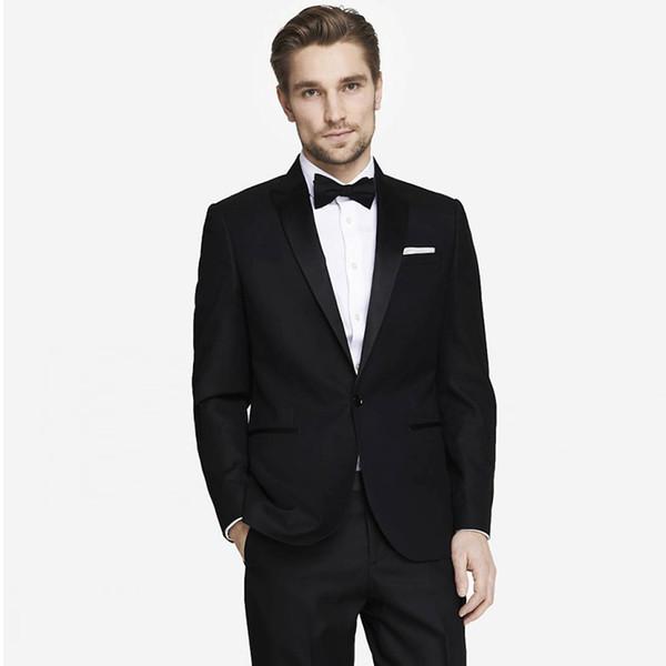 Men Suits 2018 Black Peaked Lapel Fashion Custom Made Wedding Suits For Man Bridegroom Tuxedos Blazer Slim Fit Formal Best Man Prom 2Piece