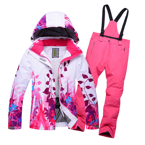 Outdoor children's winter ski wear 8-14 years old children's girls warm waterproof single double fleece ski jacket + bib pants