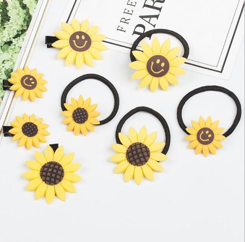 Hair Ropes & Clips Girls /Ladies Sunflower Hair Ties Rubber Band Hair Jewelry Fashion Elastic Head Rope
