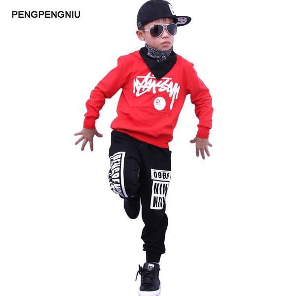 PENGPENGNIU Jungen Hoodie und Hose Sets Mädchen Street Dance Kleidung Kinder Hip Hop Kostüme Tanzabnutzung Kinder Sport Anzüge