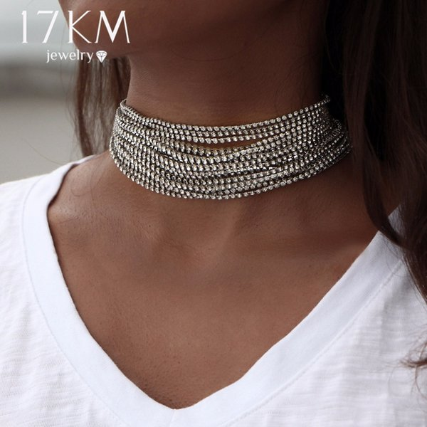 17KM Multiple layers Rhinestone Crystal Choker Necklace for Women New Bijoux Maxi Statement Necklaces Collier Fashion Jewelry D18111201