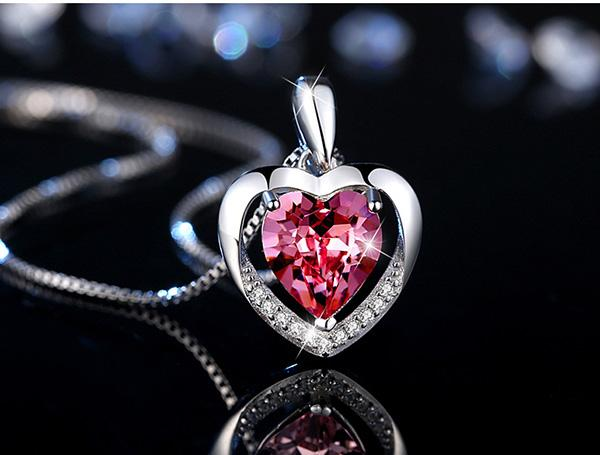 2 Color Sterling Silver Heart Patern Pendant Necklace 925 Silver Chain with Red Blue Cubic Zirconia Gem Necklace