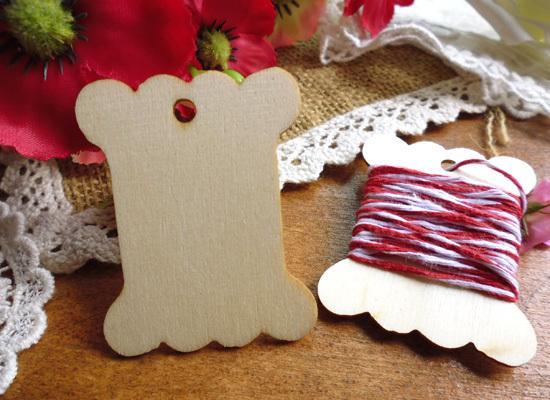 Etiquetas de madera 100 unids Diseño en blanco 54x41mm ZAKKA Hilo de madera cinta de hilo SPOOL bobina Etiqueta de regalo Etiqueta colgante para la caja de regalo del partido