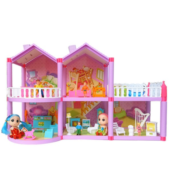 DIY Family Doll House Dolls Accessories Toy With Confuse Doll Miniature Furniture Garage DIY House Toys For Girl Gifts
