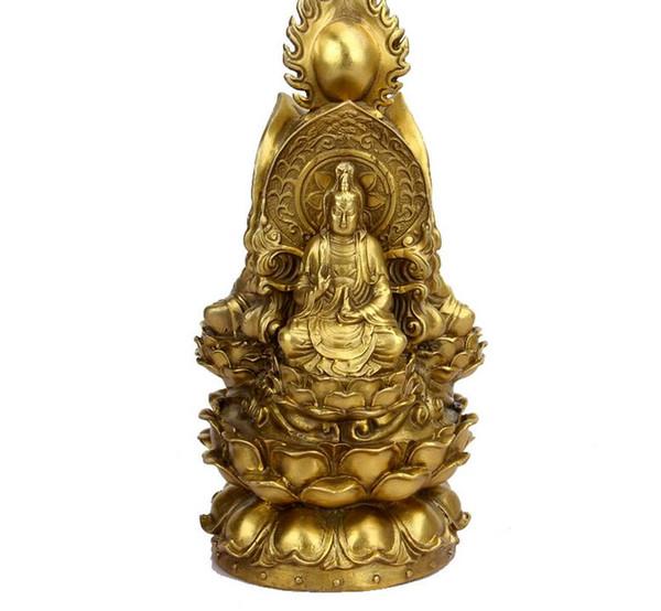 Pure copper Three-faced Buddha Buddha Buddha bronze goddess Feng Shui ornament