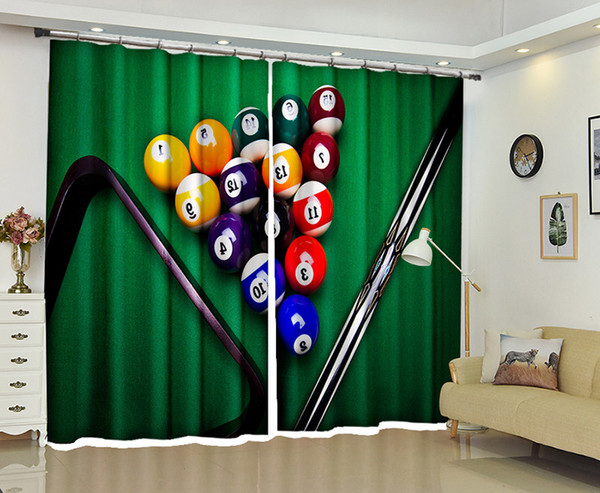 top popular Customized Blackout Curtains Billiards 3D Print Window decorate Drapes For Living room Bed room Office Hotel Wall Tapestry 2021