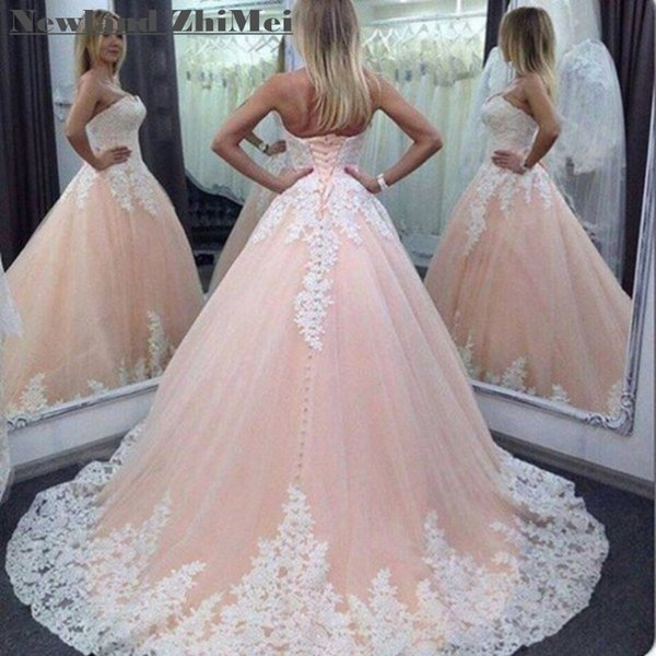 Champagne Applique Ball Gown Wedding Dresses Sexy Off Shoulder Lace Up Back Tulle Bride Gowns High Quality