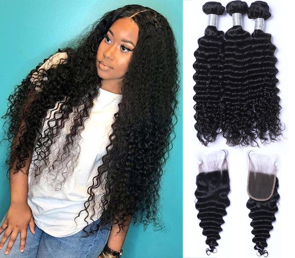 8a peruvian deep wave hair bundle with clo ure middle 3 part double weft human hair exten ion dyeable human hair weave, Black