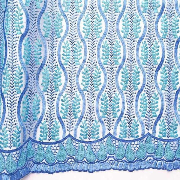 Tela de encaje de guipur suizo africano más nuevo Bordado azul aqua Últimos cordones nigerianos 2018 Cordones africanos netos franceses dorados