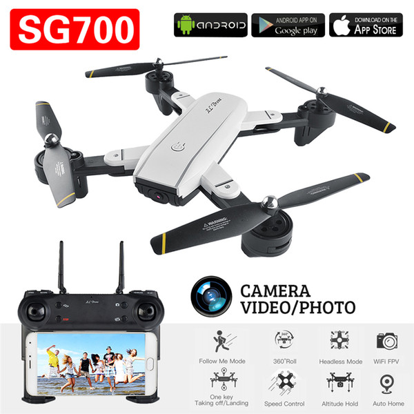 SG700 FPV RC Quadcopter RC Drone With 2.0MP Wifi Camera 2.4G 4CH 6-Axis Headless Mode Altitude Hold Foldable RC Helicopter With Retail Box