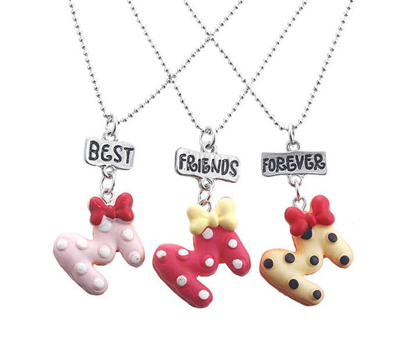 HOT SALE kids jewelry New Arrive Best Friend Necklace Cute Letter Bow Best Friends BFF Necklace Bead Chain Pendant Charm Necklace 3set/9pcs