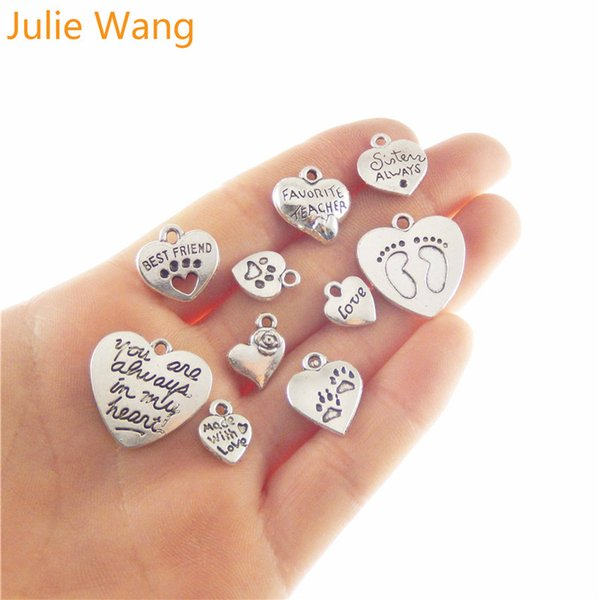 Julie Wang 10pcs Antique Silver Mixed Heart Love Charms Alloy Suspension Necklace Pendants DIY Jewelry Making Accessory