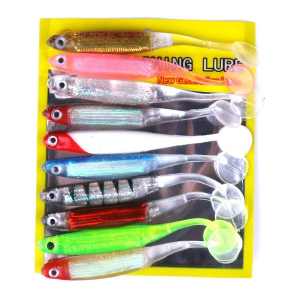 New 10pcs/set Artificial Fishing Lure Soft Pesca Lure 52g Japan Shad Lure Worm Swim bait Jig Head Fly Fishing Silicone Rubber Y18100906