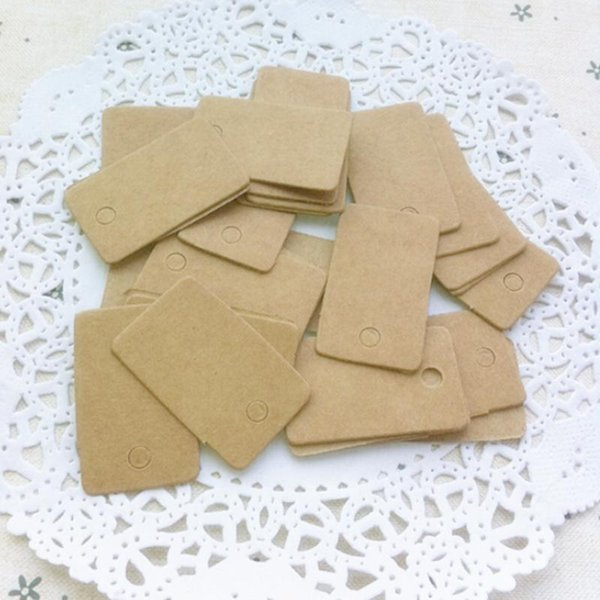 Wholesale- 100Pcs DIY Blank price Hang tag Kraft Gift Brown Kraft Paper Tags Label Luggage Wedding Note+String