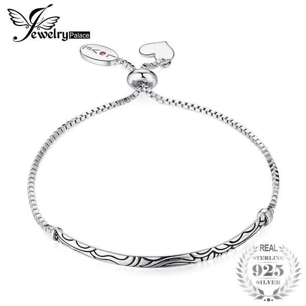Jewelrypalace fedele amore creato rubino ciondola cuore modello vintage bracciali incisi 925 sterling silver bel regalo per le donne c18110801