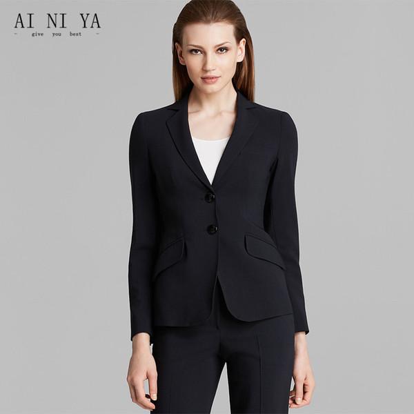 Jaqueta + Calças Mulheres Ternos de Negócio Escritório Desgaste do Trabalho Formal 2 Peça Set Uniforme Estilos Fino Senhoras Elegantes Pant Ternos Dois Botões
