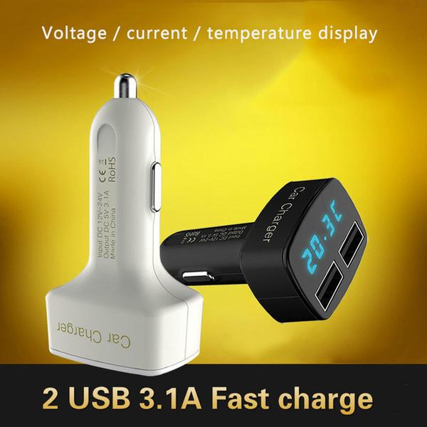 Yeni 4 1 Araç Şarj Çift USB DC 5 V 3.1A Evrensel LED Ekran Adaptörü ile Gerilim / sıcaklık / Akım Ölçer Cihazı Dijital