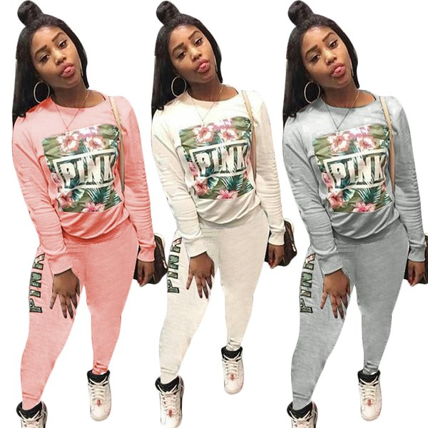Love pink women tracksuit sweater with pants 2 piece sweatsuit PINK Letter palm flower printed Sportswear spring autumn outfits clothes sale