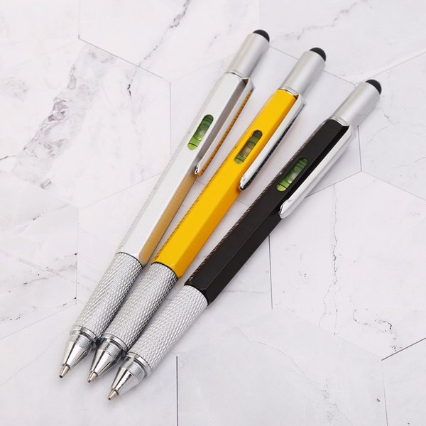 6 in 1 metal pen Multifunction Tool Ballpoint Pen Screwdriver Ruler Spirit Level
