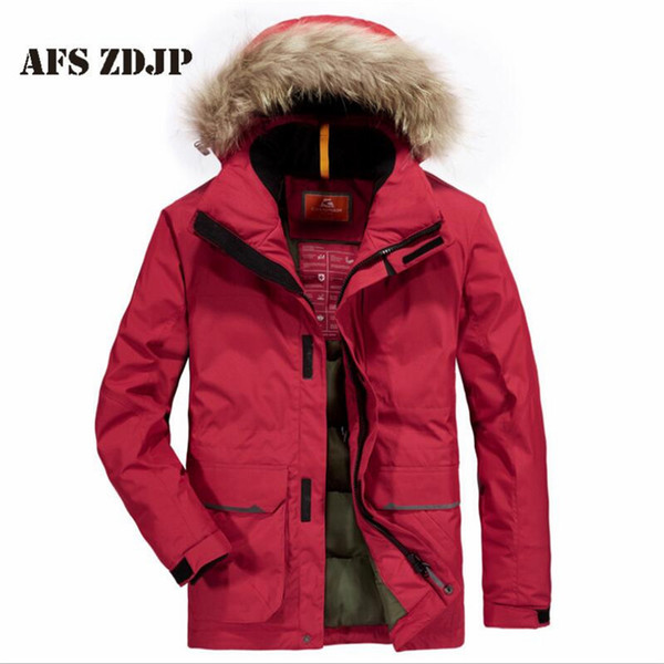 Deportes Fur hooded collar parkas men 2019,Fill cotton warm Glue buttons coat man,detachable hat Active motor biker long parka