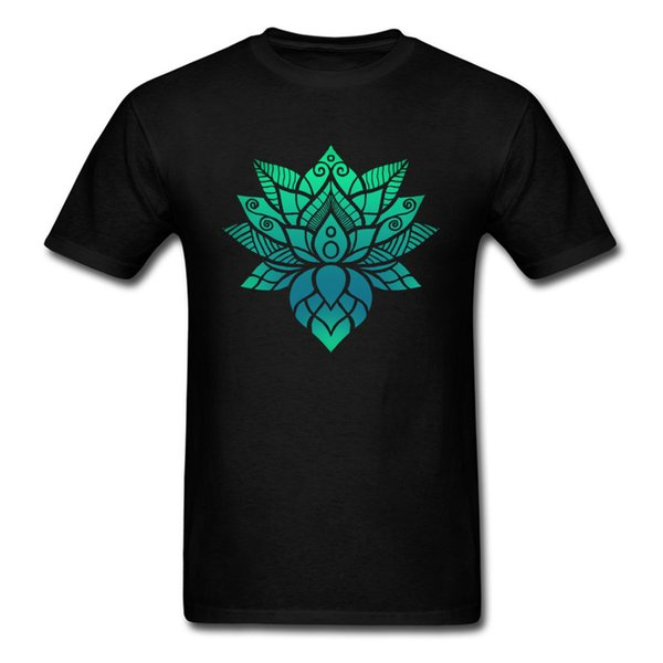 Lotus Flower Ornament T Shirt Mens Brand New Summer Clothes O-Neck Father Day 100% Cotton Top T-shirts Simple Style Short Sleeve Tees