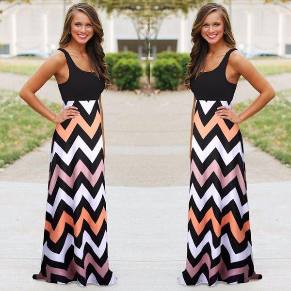 3d609852dc Women Stripped Dress Summer Beach Boho Maxi Dress 2018 High Quality Brand  Striped Print Long Dresses