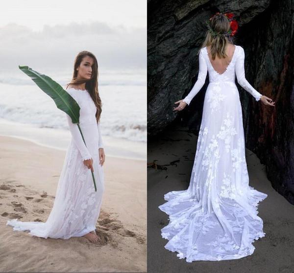 Compre 2019 Sencillos Y Elegantes Vestidos De Novia De Playa De Verano De Manga Larga De Encaje Sexy Back Vestidos De Novia Largos Para Beach Gardens