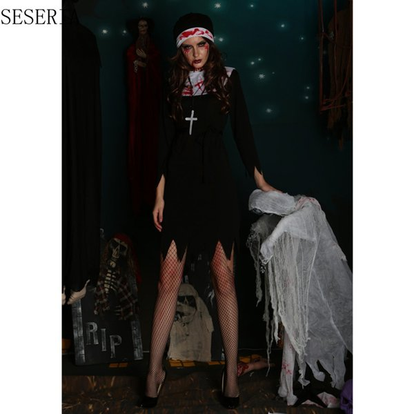 SESERIA M L XL Halloween Scary Nun Bloody Cosplay Dress Halloween Theme Party Terror Nun Costumes