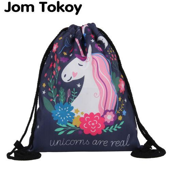 Jom Tokoy Fashion Drawstring Bag 3D Printing Unicorn Mochila Feminina Backpack Women daily Casual Girl's knapsack