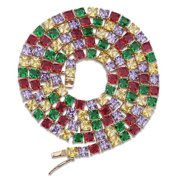 Золото Серебро Цвет Покрытием 1 Ряд 5 мм Iced Out Теннисная Цепочка Micro Pave Разноцветные Ожерелья Камней 18 22 дюймов