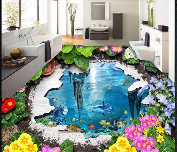 Großhandel Tapeten Für Wohnzimmer Garden Ocean 3D Bodenaufkleber PVC  Vinylboden Badezimmer Von Wallpaper2018, $50.26 Auf De.Dhgate.Com | Dhgate