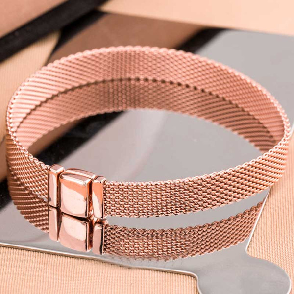 New 925 Sterling Silver Bracelet Rose Gold Woven Mesh Reflexions Bracelets Bangle Fit Women Bead Charm Europe Diy Jewelry