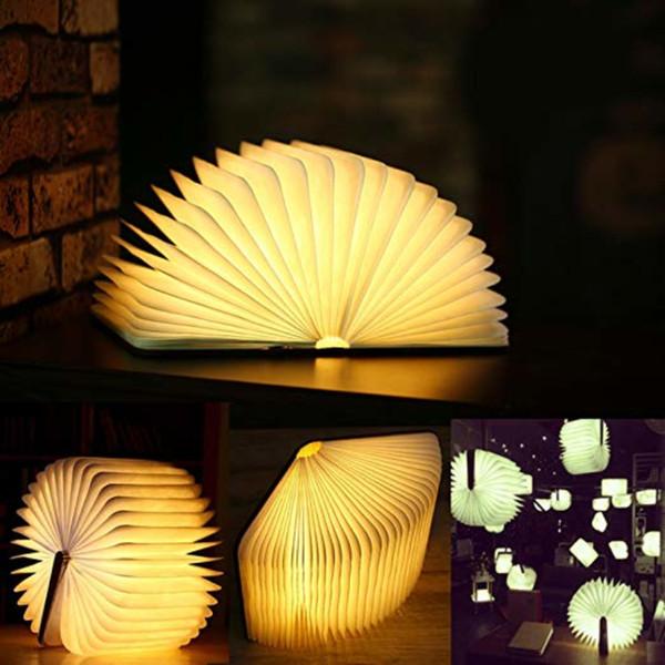 USB Rechargeable LED Foldable Wooden Book Shape Desk Lamp Nightlight Booklight for Home Decor Warm White Light