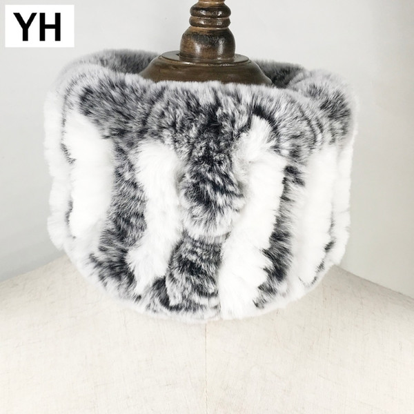 2018 Winter Women Handmade Stretch 100% Real Rex Fur Scarf Knit Genuine Rex Rabbit Fur Headbands Girls Natural Fur Ring Scarves S18101904