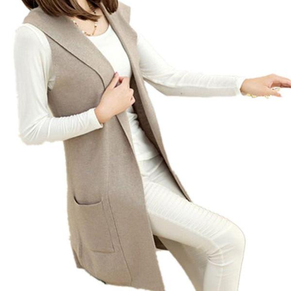 Mezcla de lana de cachemira con capucha chaleco suéter y largas secciones de punto cardigan sin mangas vestido casual mujeres auténtico envío gratis