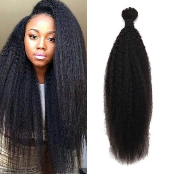 Estensioni dei capelli diritte crespi diritte brasiliane dei capelli umani nessuna trama naturale nera dei capelli di colore per l'intrecciatura G-EASY